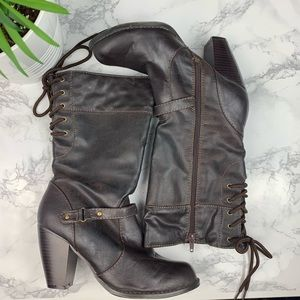 Jellypop Walkon Heeled Lace Up Detail Boots 8